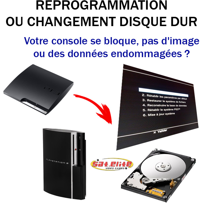 r paration ps3 changement disque dur sat elite video games paris jeux video. Black Bedroom Furniture Sets. Home Design Ideas